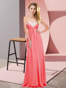 Chiffon Sweetheart Sleeveless Lace Up Ruching Prom Evening Gown in Watermelon Red