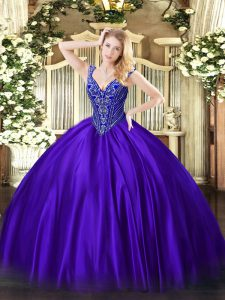 Discount V-neck Sleeveless Satin Quince Ball Gowns Beading Lace Up