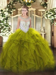 Vintage Ball Gowns Quinceanera Dress Olive Green Scoop Tulle Sleeveless Floor Length Zipper