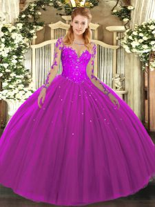 Popular Fuchsia Long Sleeves Tulle Lace Up Quinceanera Gown for Military Ball and Sweet 16 and Quinceanera