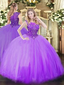 Best Selling Lilac Scoop Neckline Beading Sweet 16 Quinceanera Dress Sleeveless Zipper