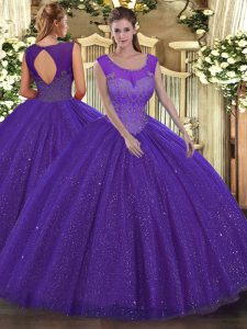Ball Gowns Sweet 16 Quinceanera Dress Purple Scoop Tulle Sleeveless Floor Length Backless