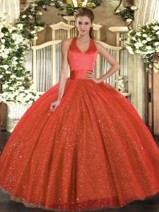 Rust Red Lace Up Quince Ball Gowns Sequins Sleeveless Floor Length