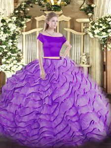 Tulle Off The Shoulder Short Sleeves Brush Train Zipper Appliques and Ruffles Sweet 16 Dresses in Lavender