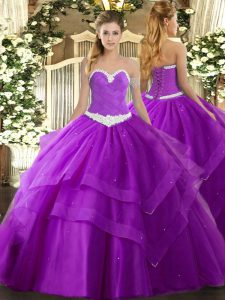 Floor Length Purple Vestidos de Quinceanera Tulle Sleeveless Appliques and Ruffled Layers