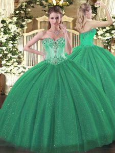Excellent Turquoise Sleeveless Floor Length Beading Lace Up Quinceanera Gowns
