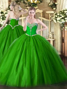 Green Sleeveless Beading Floor Length Quince Ball Gowns