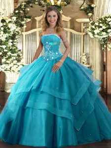 Floor Length Lace Up Quinceanera Dress Teal for Military Ball and Sweet 16 and Quinceanera with Beading and Ruffled Layers