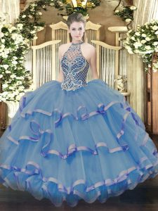 Dynamic Blue Sleeveless Beading and Ruffles Floor Length Quince Ball Gowns