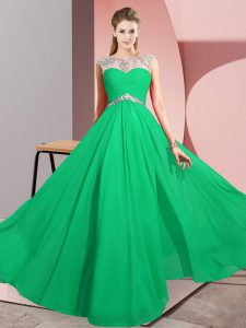 Chiffon Scoop Sleeveless Clasp Handle Beading in Green