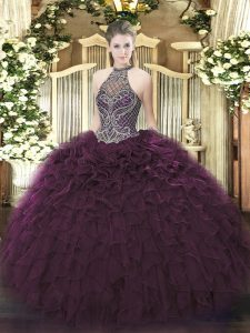 Hot Selling Dark Purple Halter Top Neckline Beading and Ruffles Sweet 16 Quinceanera Dress Sleeveless Lace Up