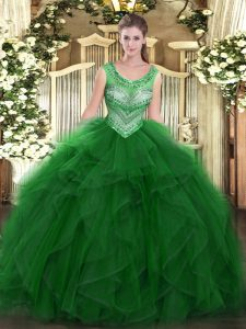 Clearance Green Lace Up Scoop Beading and Ruffles Sweet 16 Quinceanera Dress Organza Sleeveless