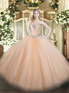 Gorgeous Floor Length Peach 15 Quinceanera Dress Tulle Sleeveless Beading