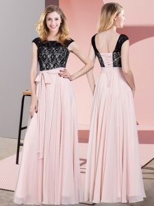 Glorious Baby Pink Evening Dress Prom and Party with Lace and Belt Scoop Sleeveless Lace Up