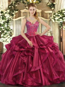 Graceful Wine Red Straps Lace Up Beading and Ruffles Quinceanera Dress Sleeveless