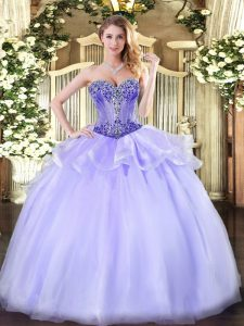Noble Lavender Lace Up Sweetheart Beading Sweet 16 Dress Organza Sleeveless