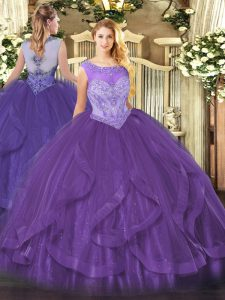 Gorgeous Tulle Sleeveless Floor Length Sweet 16 Dress and Beading and Ruffles