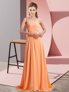 Sleeveless Backless Floor Length Beading Evening Dress