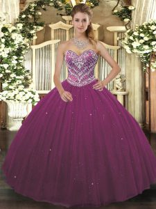 Exceptional Tulle Sleeveless Floor Length Sweet 16 Quinceanera Dress and Beading