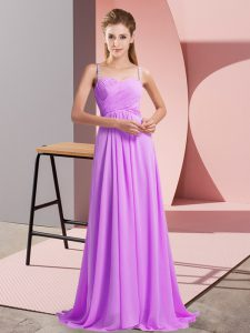 Affordable Sweep Train Empire Dress for Prom Lilac Spaghetti Straps Chiffon Sleeveless Backless