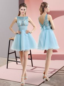 On Sale Mini Length Aqua Blue Prom Gown Tulle Sleeveless Beading and Belt