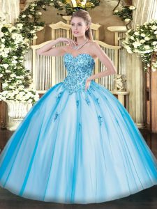 Baby Blue Sweetheart Neckline Appliques Quinceanera Gown Sleeveless Lace Up