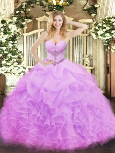 Customized Sleeveless Organza Floor Length Lace Up Quinceanera Gowns in Lilac with Beading and Ruffles and Pick Ups