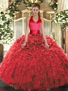 Halter Top Sleeveless 15th Birthday Dress Floor Length Ruffles Red Organza