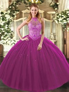Captivating Floor Length Fuchsia Quince Ball Gowns Tulle Sleeveless Beading and Embroidery