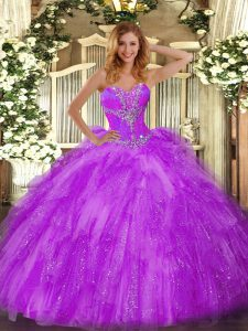 Eggplant Purple Ball Gowns Sweetheart Sleeveless Organza Floor Length Lace Up Beading and Ruffles Ball Gown Prom Dress