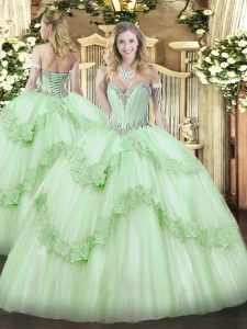 Beading and Appliques Sweet 16 Dress Apple Green Lace Up Sleeveless Floor Length