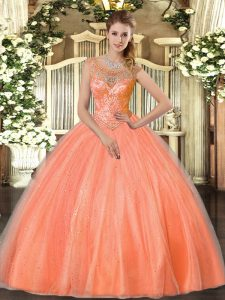 Customized Floor Length Ball Gowns Sleeveless Orange Red Sweet 16 Dresses Lace Up
