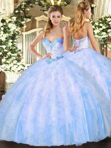 Light Blue Sweetheart Lace Up Beading and Ruffles Sweet 16 Dresses Sleeveless