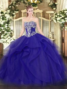 Blue Ball Gowns Strapless Sleeveless Tulle Floor Length Lace Up Beading and Ruffles Quinceanera Gowns