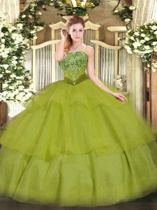 Olive Green Strapless Neckline Beading and Ruffled Layers Sweet 16 Dress Sleeveless Lace Up