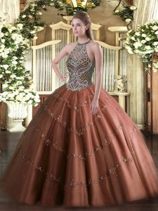 Chocolate Quinceanera Gown Sweet 16 and Quinceanera with Beading Halter Top Sleeveless Lace Up