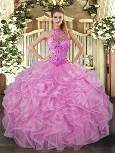Organza Halter Top Sleeveless Lace Up Beading and Embroidery and Ruffles Sweet 16 Dress in Lilac