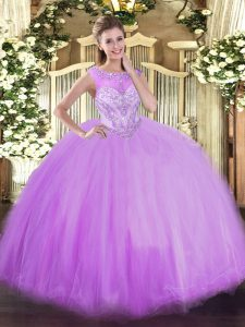 Scoop Sleeveless Tulle Quinceanera Dresses Beading Zipper