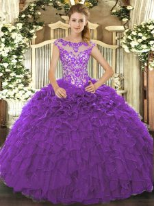 Excellent Floor Length Ball Gowns Cap Sleeves Purple Quinceanera Gowns Lace Up