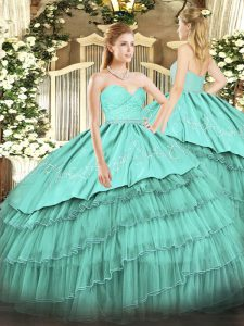 Turquoise Sweetheart Neckline Beading and Lace and Embroidery and Ruffled Layers Quinceanera Gown Sleeveless Zipper