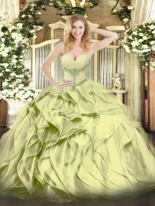 Affordable Sleeveless Lace Up Floor Length Beading and Ruffles Quince Ball Gowns