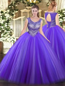 Eggplant Purple Scoop Lace Up Beading Vestidos de Quinceanera Sleeveless
