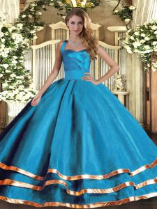 Sleeveless Tulle Floor Length Lace Up Vestidos de Quinceanera in Baby Blue with Ruffled Layers