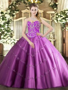 Sleeveless Floor Length Beading and Appliques Lace Up Quinceanera Gowns with Lilac