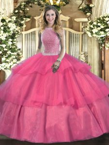Floor Length Lace Up Quinceanera Gown Hot Pink for Military Ball and Sweet 16 and Quinceanera with Beading and Ruffled Layers