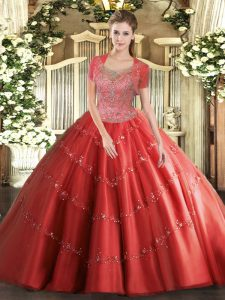 Hot Selling Floor Length Coral Red Sweet 16 Dresses Tulle Sleeveless Beading