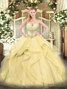Floor Length Lace Up Quinceanera Dresses Gold for Military Ball and Sweet 16 and Quinceanera with Beading and Ruffles