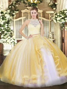 Stunning Gold Tulle Zipper Scoop Sleeveless Floor Length 15th Birthday Dress Lace and Ruffles