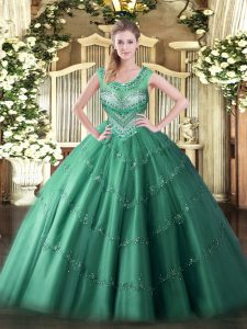 Exquisite Beading and Appliques 15th Birthday Dress Dark Green Lace Up Sleeveless Floor Length