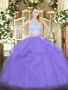 Customized Lavender Sleeveless Floor Length Lace and Ruffles Zipper Ball Gown Prom Dress